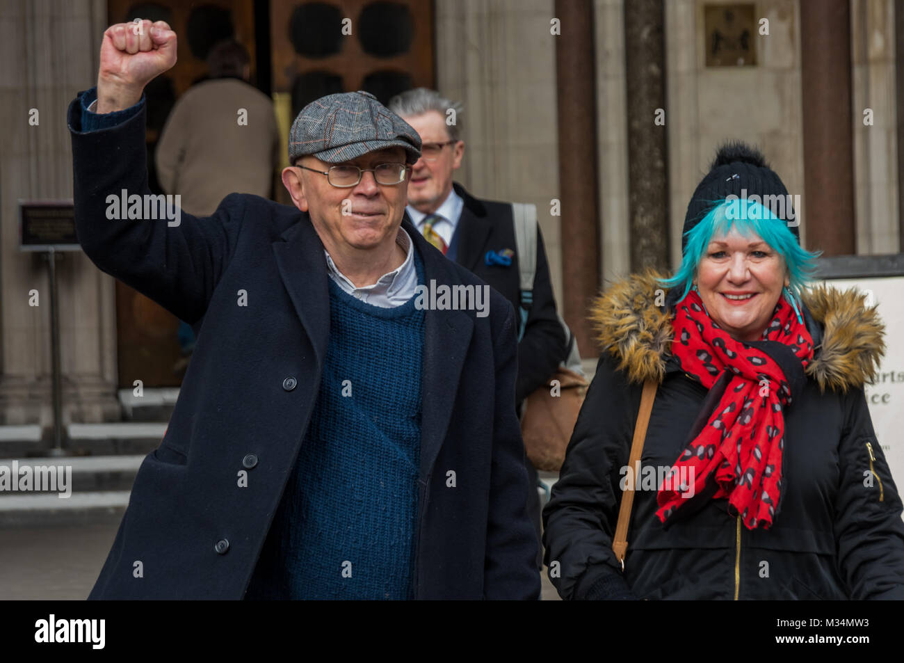 February 8, 2018 - London, UK. 8th February 2018. Ian Bone celebrates in the pub opposite the High Court after stopping - Stock Image