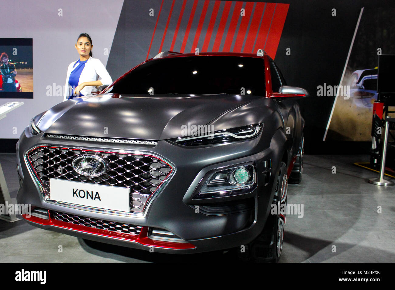 Noida, India. 08th Feb, 2018. Hyundai Motor Company Showcasing concept cars and launching cars in  Auto Expo in - Stock Image