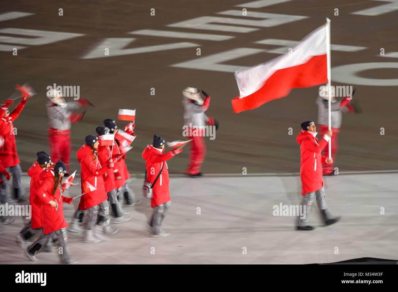 Pyeongchang, South Korea. 9th Feb, 2018.  Poland at opening ceremony at 2018 Pyeongchang winter olympics at Pyeongchang Stock Photo