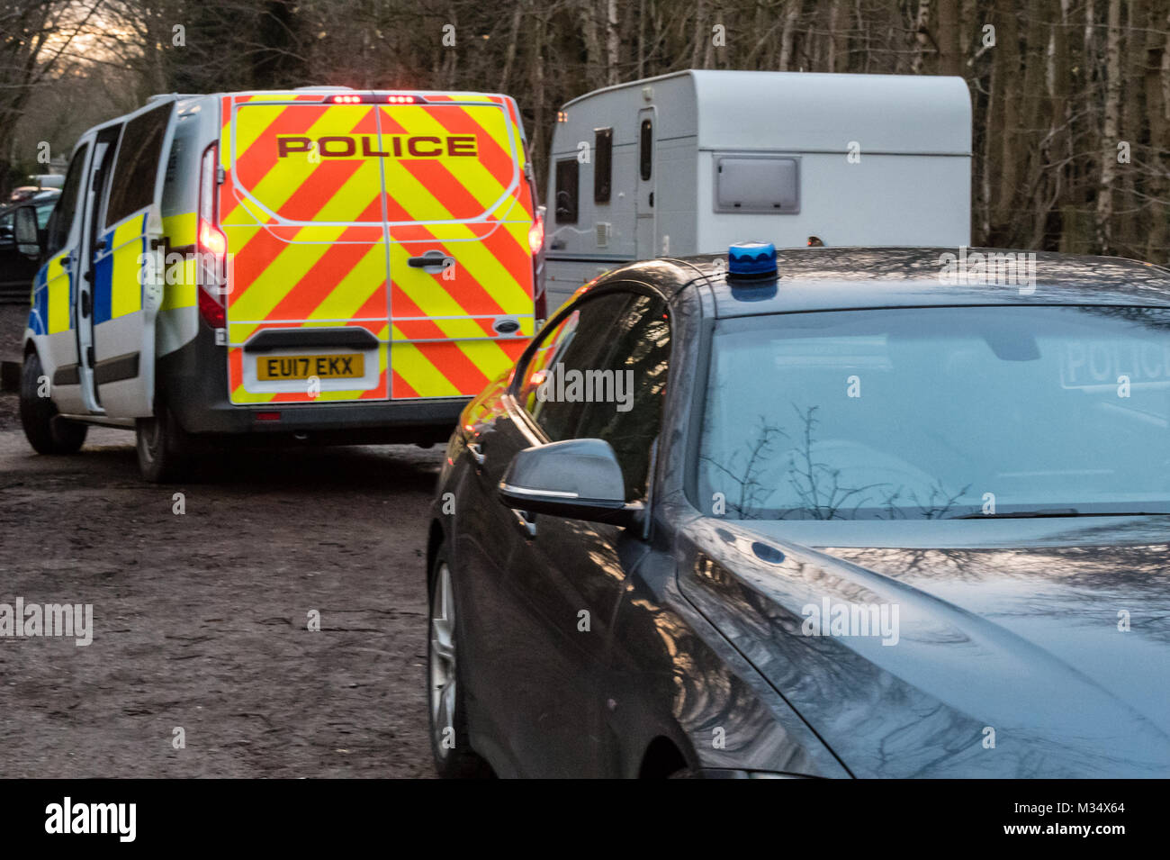 Brentwood, Essex. 9th Feb, 2018.  A large Essex police operation took place to remove an unlawful traveller's camp - Stock Image