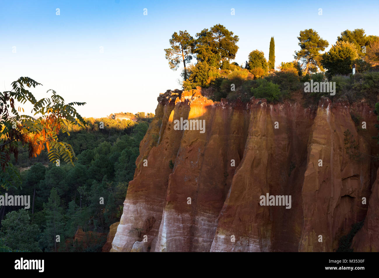 Dramatic ochre cliffs topped with lush vegetation photographed in Roussillon France at sunset. - Stock Image