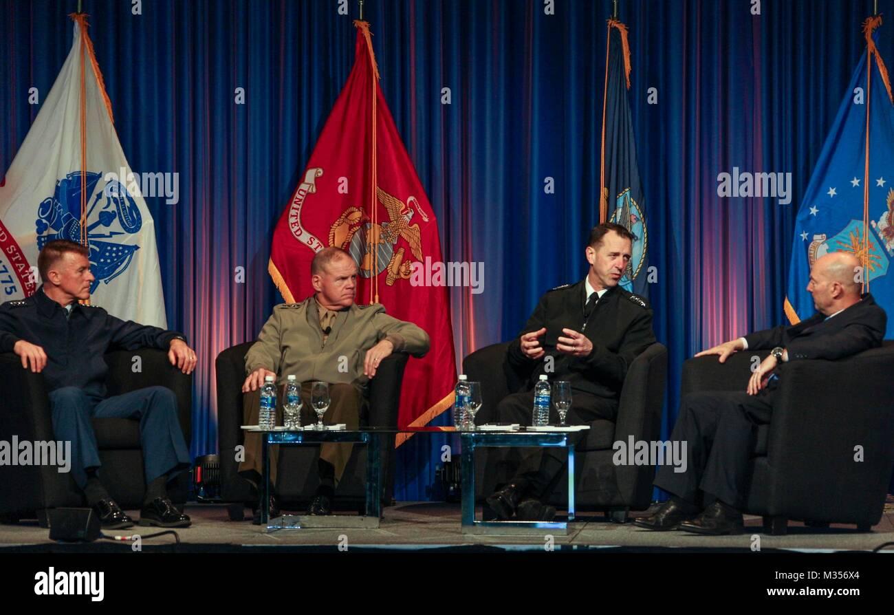 From left, Commandant of the Coast Guard Adm. Paul F. Zukunft, Commandant of the Marine Corps Gen. Robert B. Neller, Stock Photo