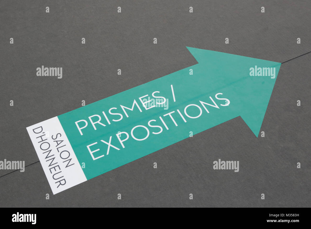 PARIS - NOVEMBER 10: Green arrow sign during Paris Photo art fair at Grand Palais on November 10, 2017 in Paris, - Stock Image