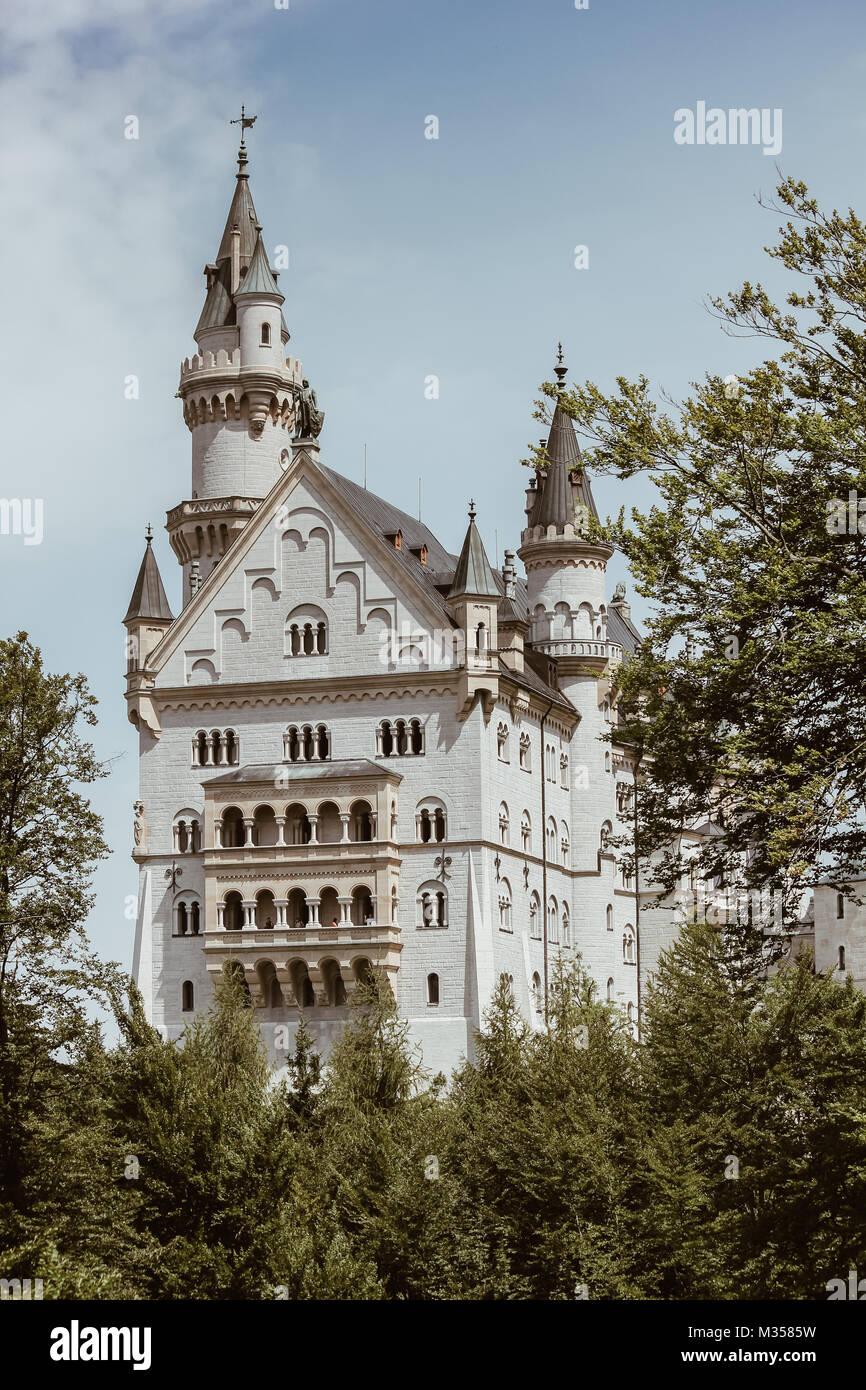 Neuschwanstein Castle in Bavaria, Germany - Stock Image