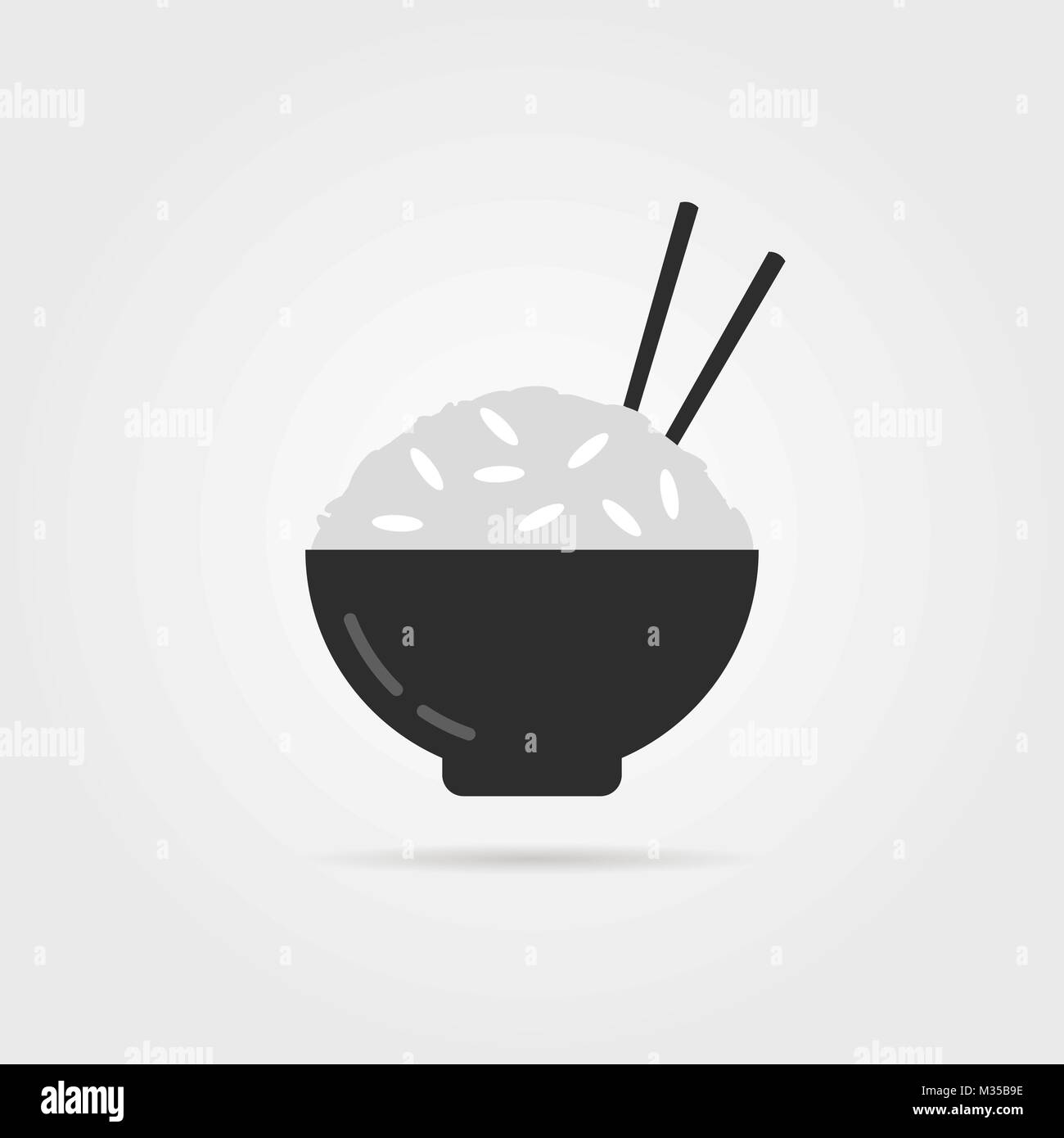 black rice icon with chopsticks - Stock Vector