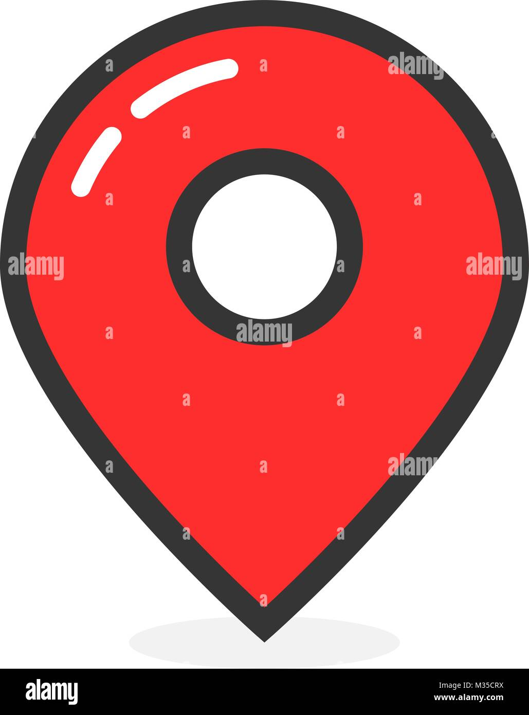 red glossy map pin with shadow - Stock Vector