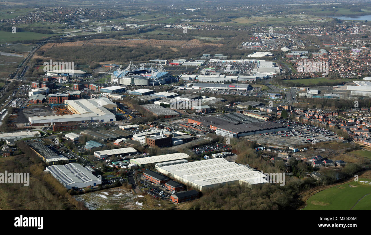 aerial view of the Reebok development at Bolton, UK - Stock Image
