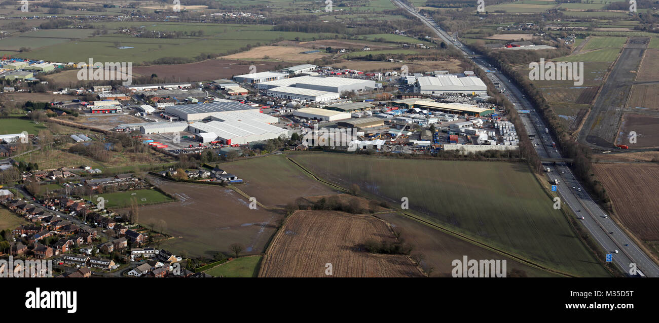 aerial view of Appleton Thorn Industrial Estate, Warrington, Cheshire, UK - Stock Image