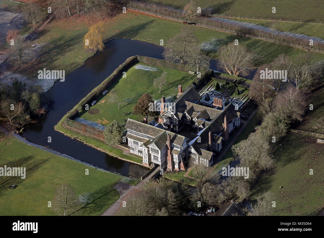 aerial view of Little Moreton Hall from over 1500' up, Cheshire, UK - Stock Image