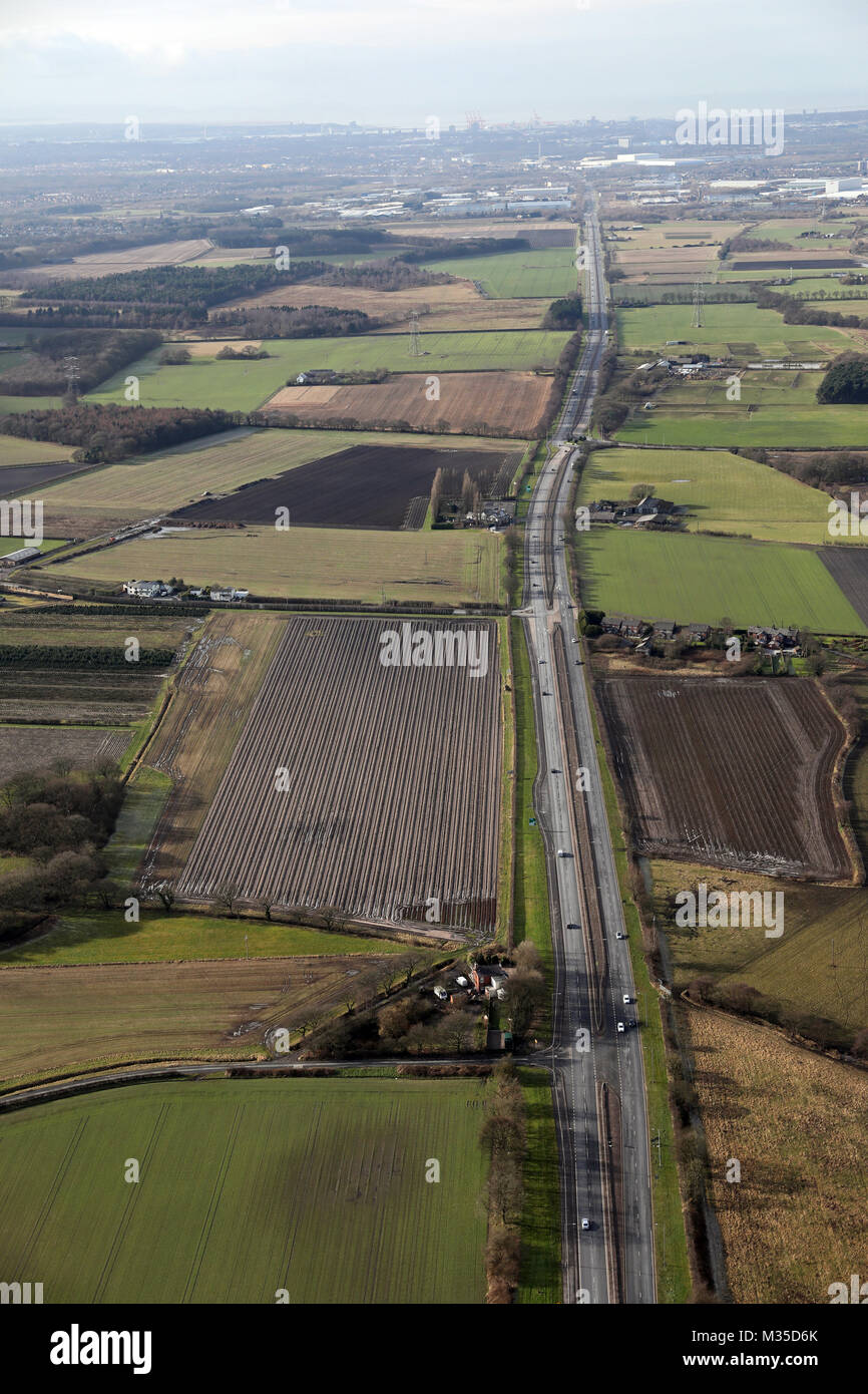aerial view of the East Lancs Road heading towards Liverpool, UK - Stock Image