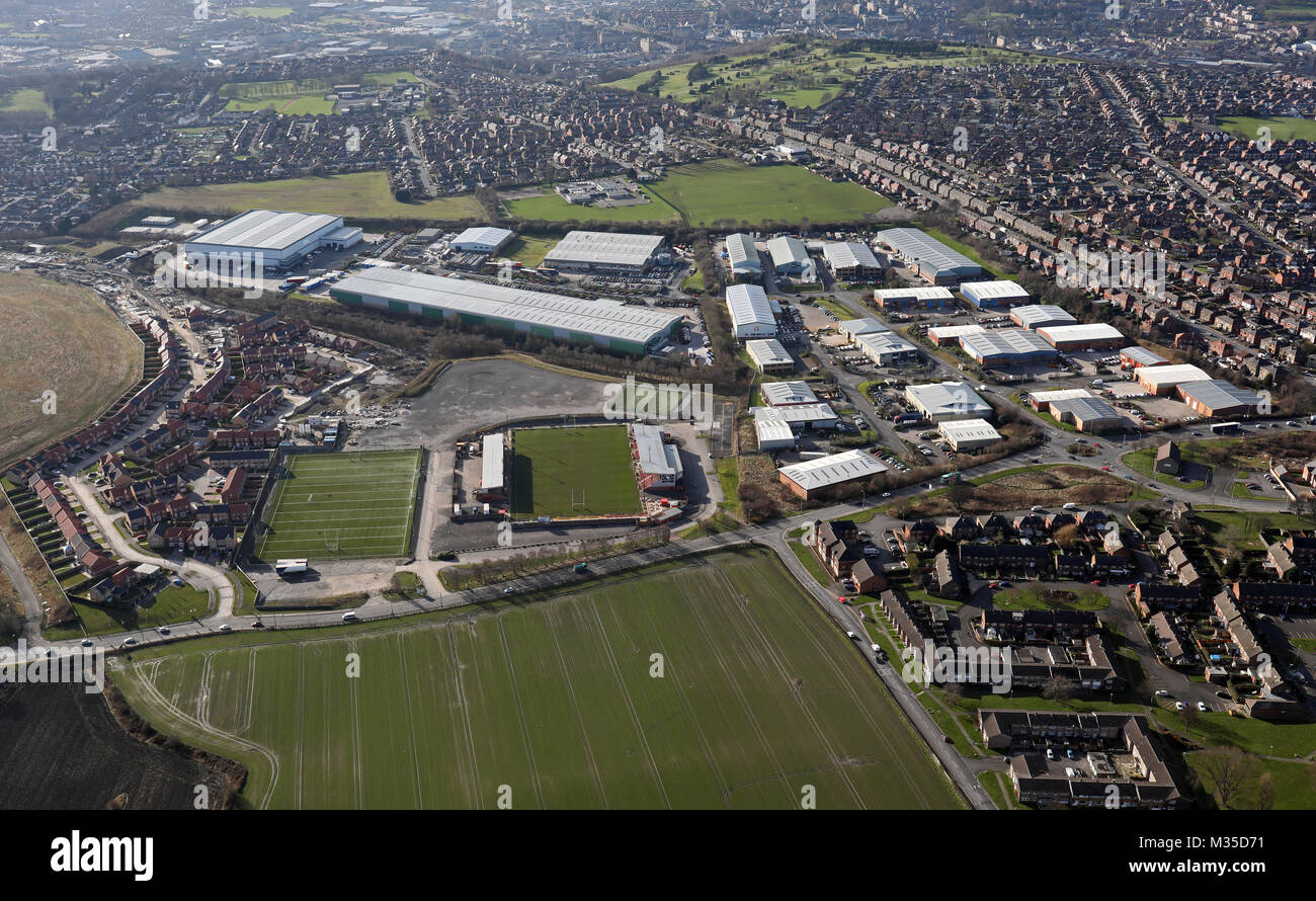 aerial view of Shaw Cross Business Park, Dewsbury, West Yorkshire, UK - Stock Image