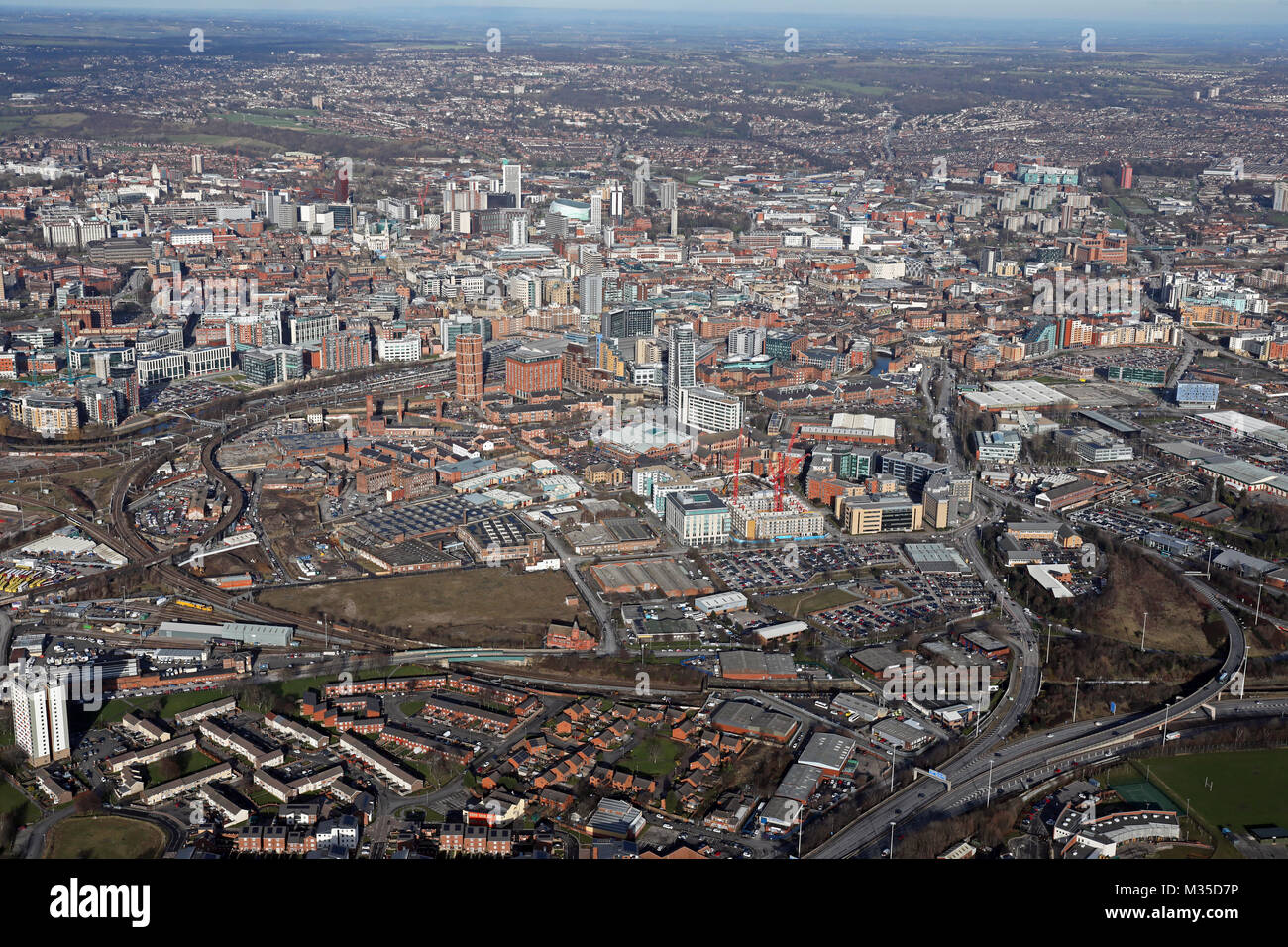 aerial view of Leeds city centre skyline from the south west, UK - Stock Image