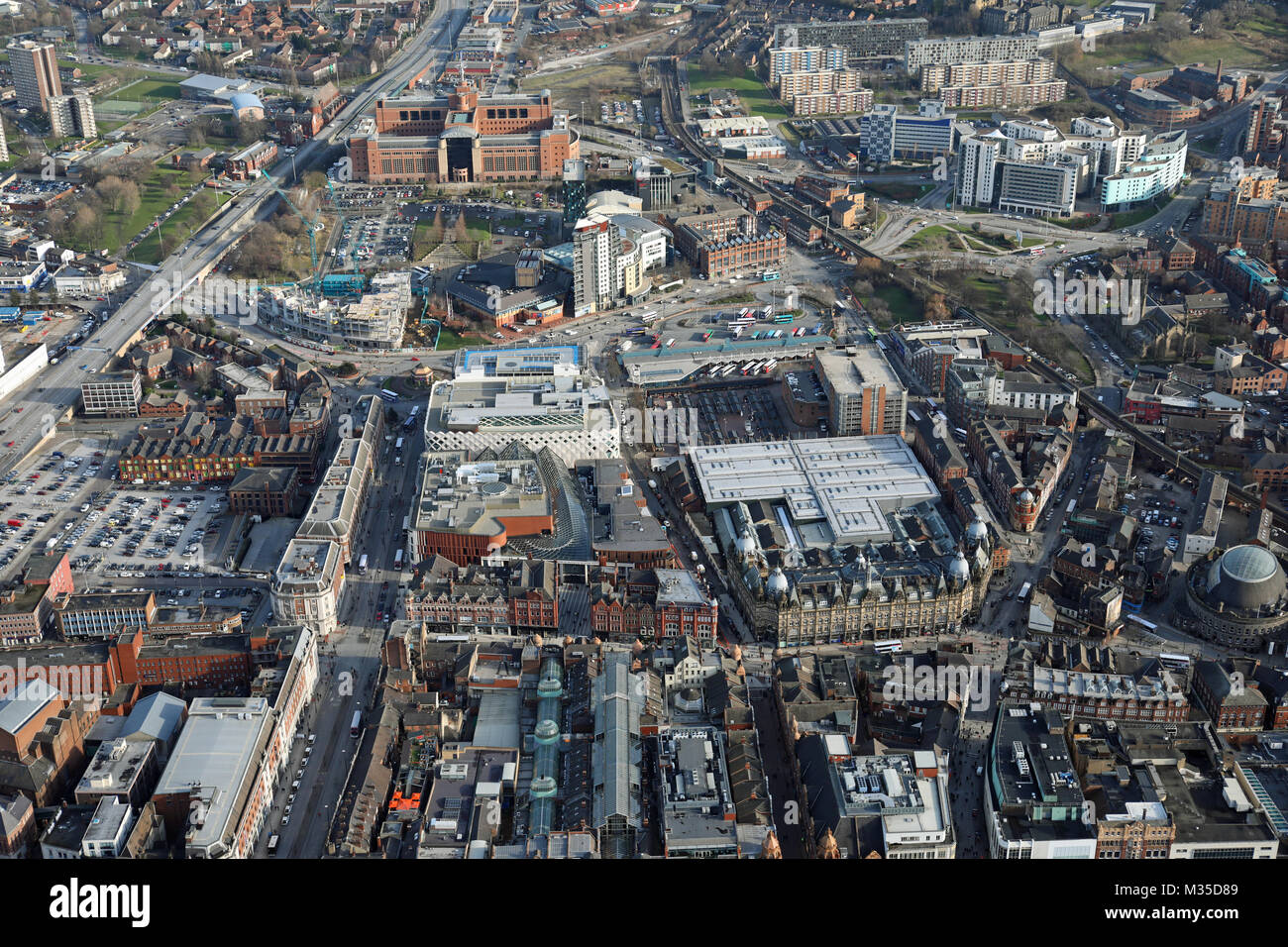 aerial view of Leeds city centre, UK - Stock Image