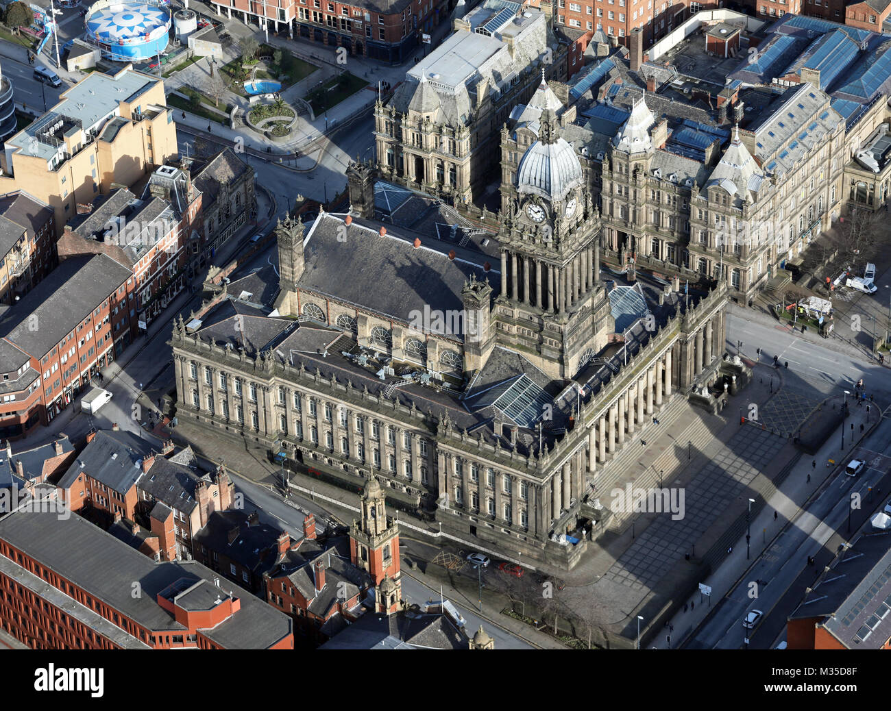 aerial view of Leeds Town Hall ,UK - Stock Image