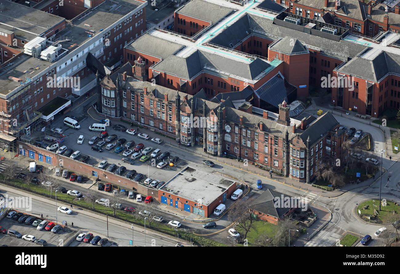 aerial view of St James Hospital, Leeds, UK - Stock Image