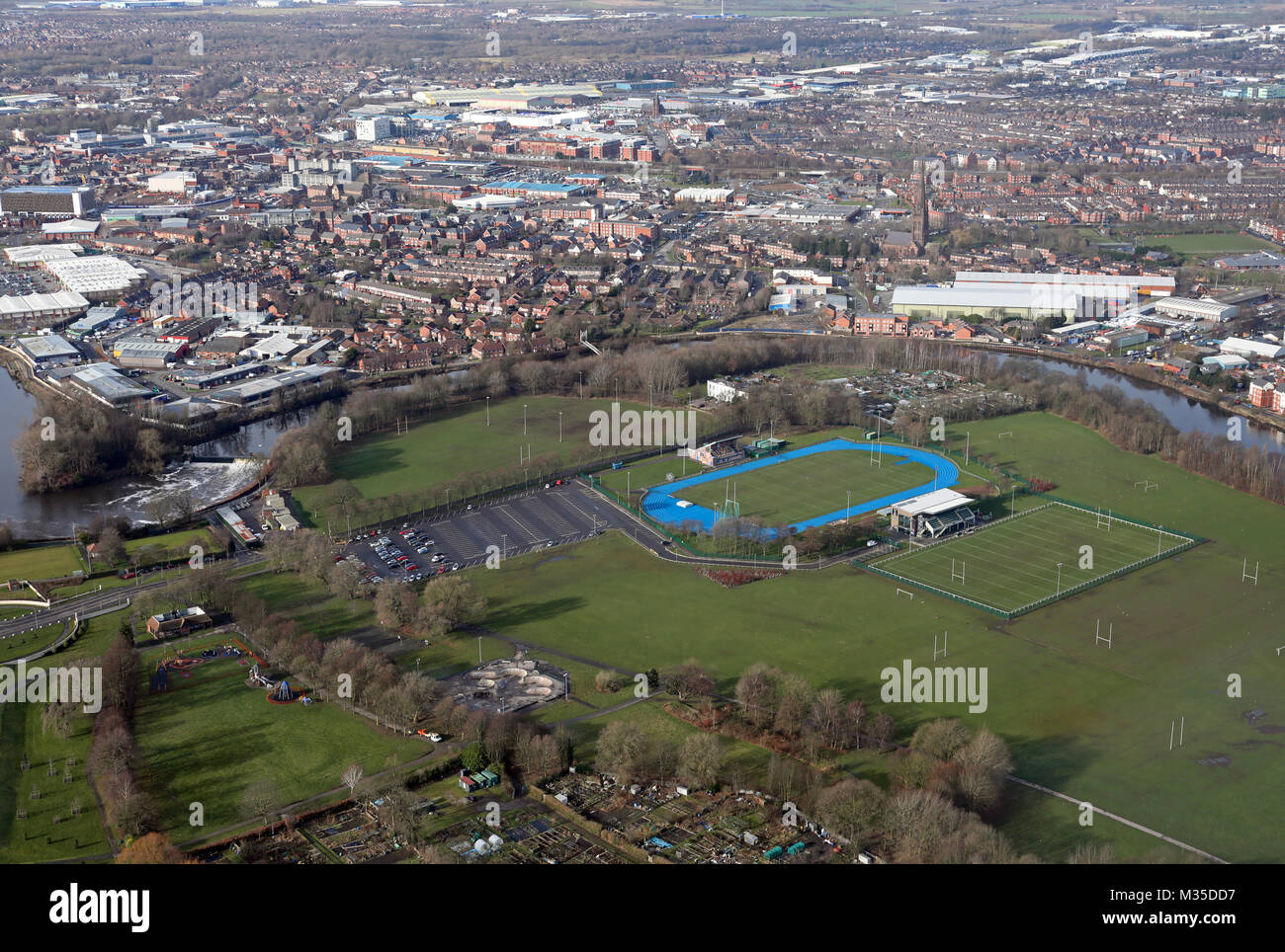 aerial view of Victoria Park & Warrington town centre, Cheshire, UK Stock Photo