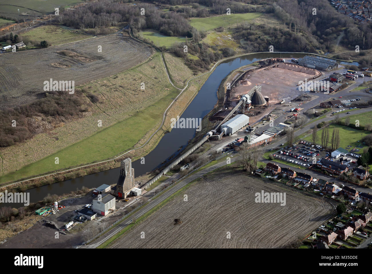 aerial view of  Compass Minerals site at Winsford, Cheshire,UK - Stock Image