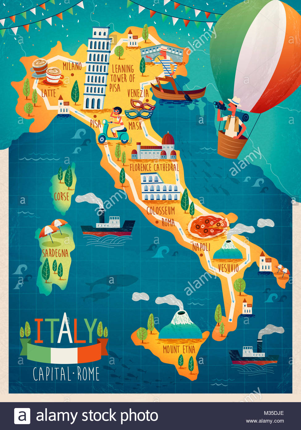 colorful Italy travel map with attraction symbols Italian words for