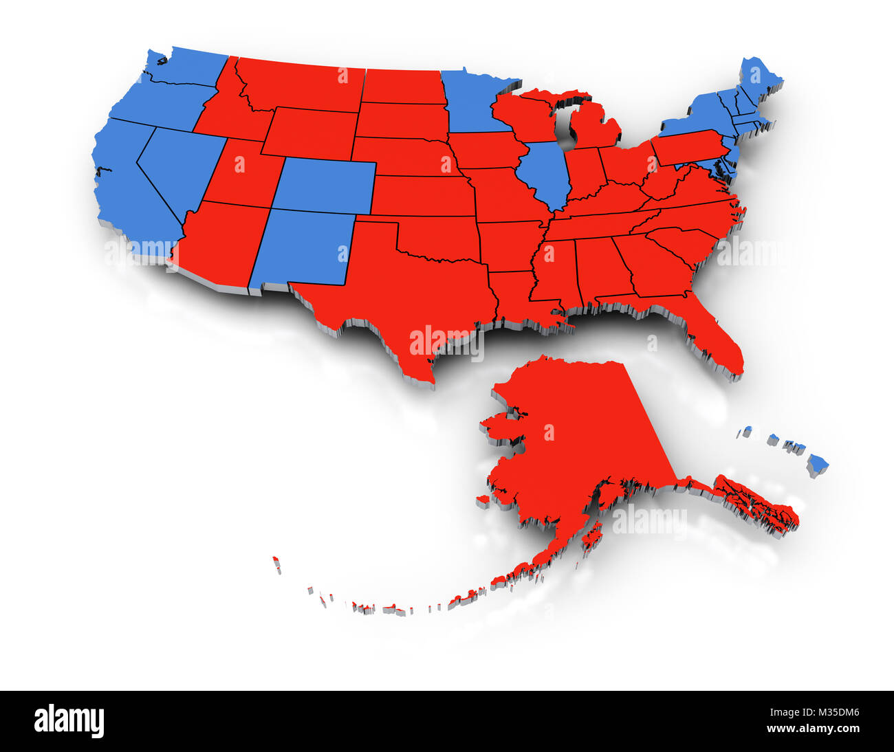 Red blue states map stock photos red blue states map stock images 3d rendering of the us map featuring the republican and democrat states during the 2016 presidential publicscrutiny Choice Image