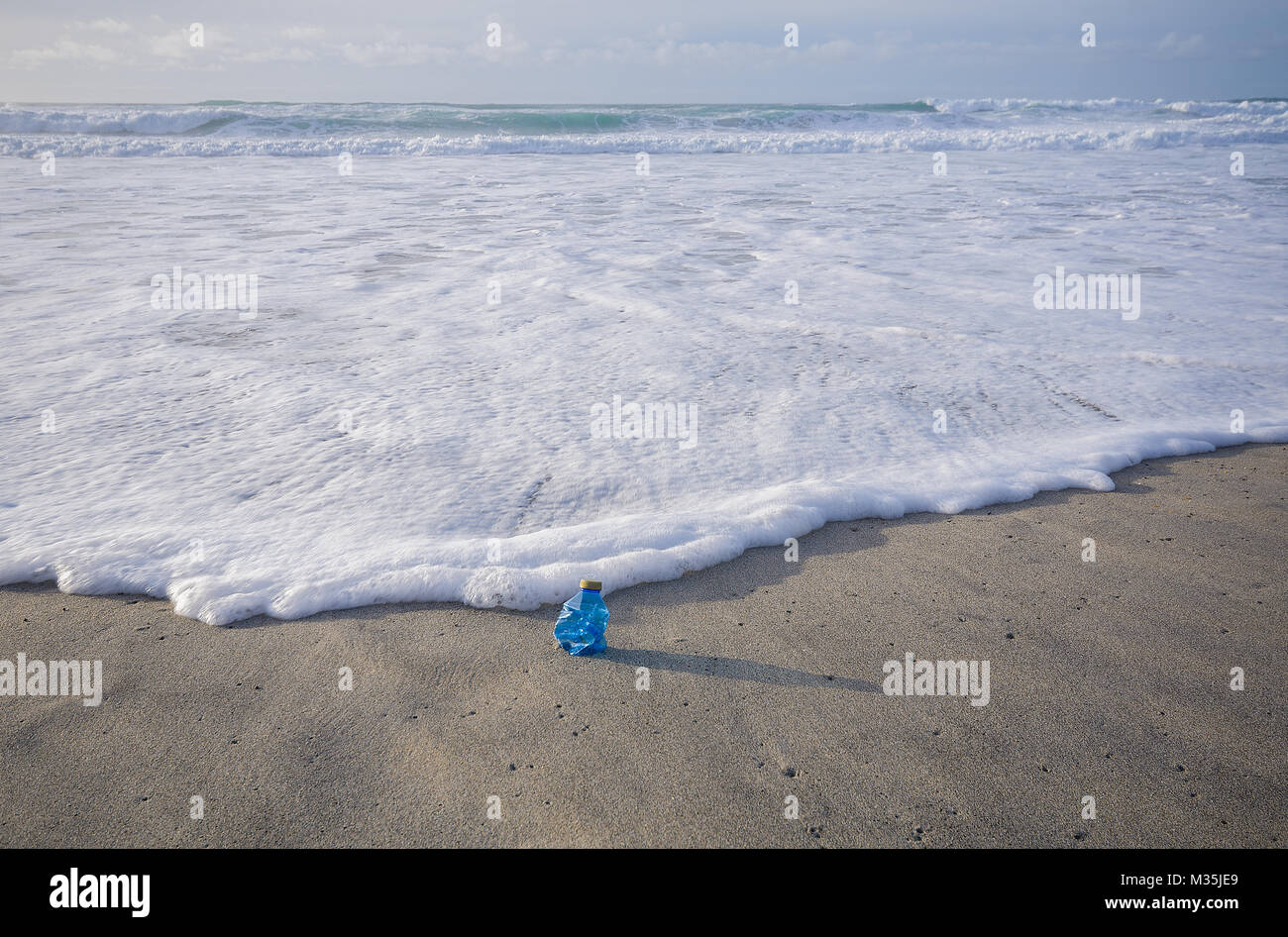 Single use plastic bottle washed up on beach - Stock Image