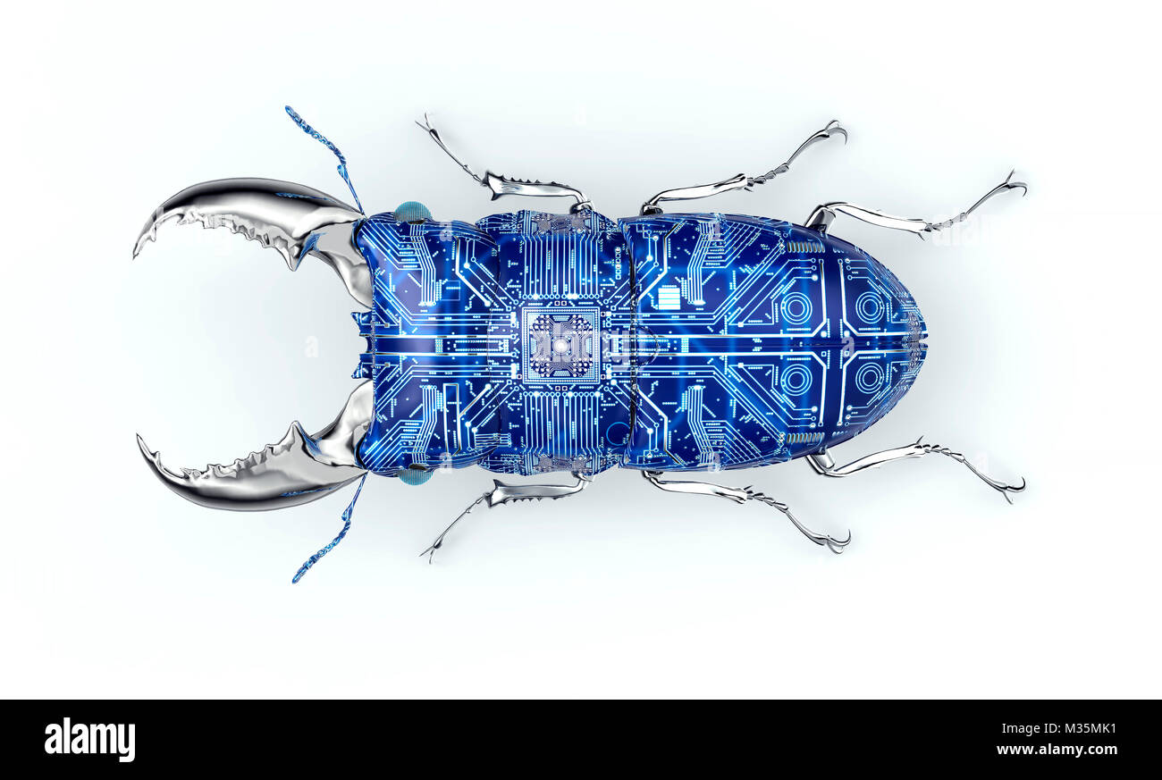 digital safety concept electronic computer bug isolated, 3D illustration - Stock Image
