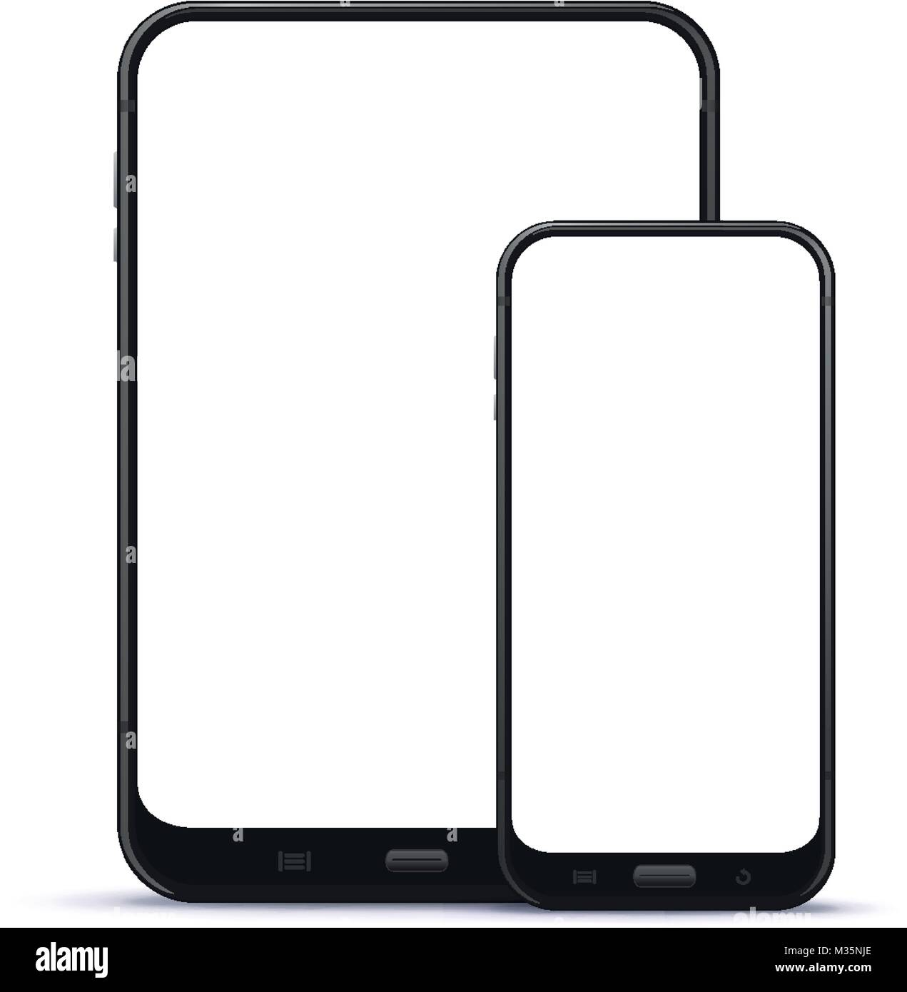 Black Mobile Phone and Tablet Computer Vector illustration - Stock Image