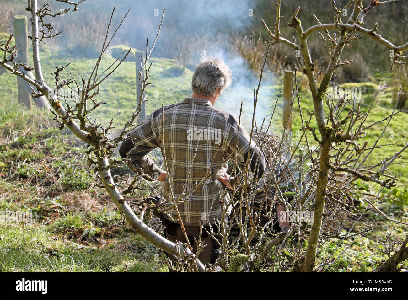 A man lighting a bonfire in the garden tidying up and burning old sticks and branches in preparation for spring - Stock Image