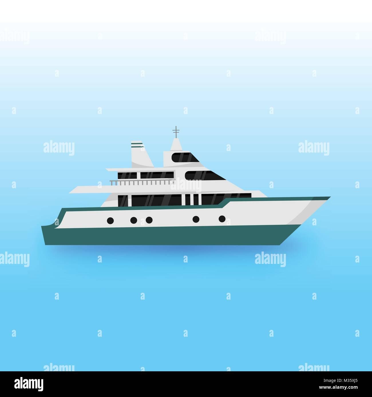 Luxury Yacht Transportation Vector Illustration Graphic Design - Stock Image