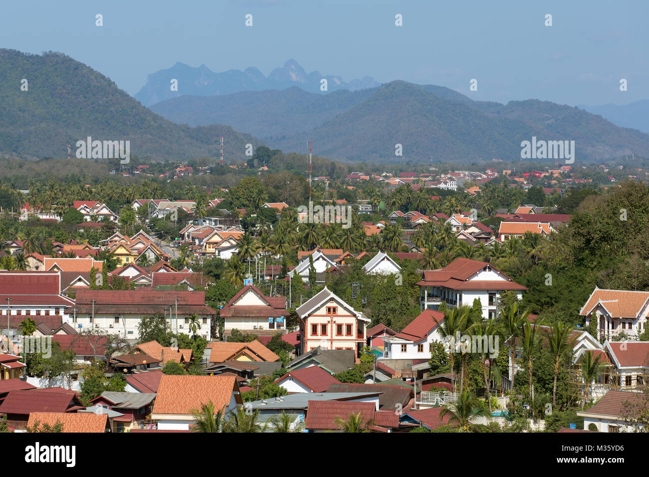Top view of Luang Prabang, Laos - Stock Image