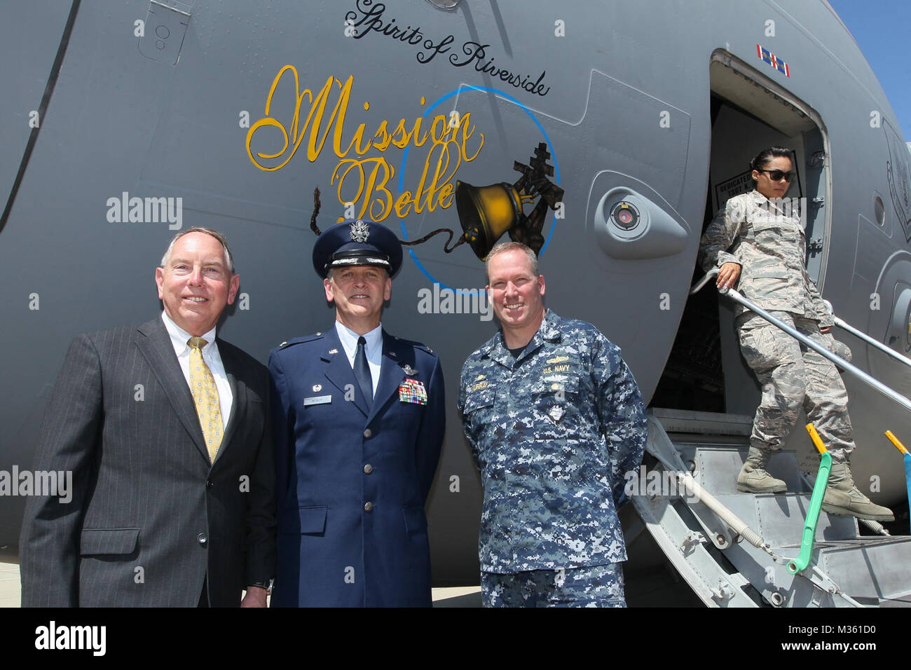 150811-N-HW977- MARCH AIR RESERVE BASE, Calif. (Aug. 11, 2015) Photo from ceremony as Col. Russell Muncy, commander, - Stock Image