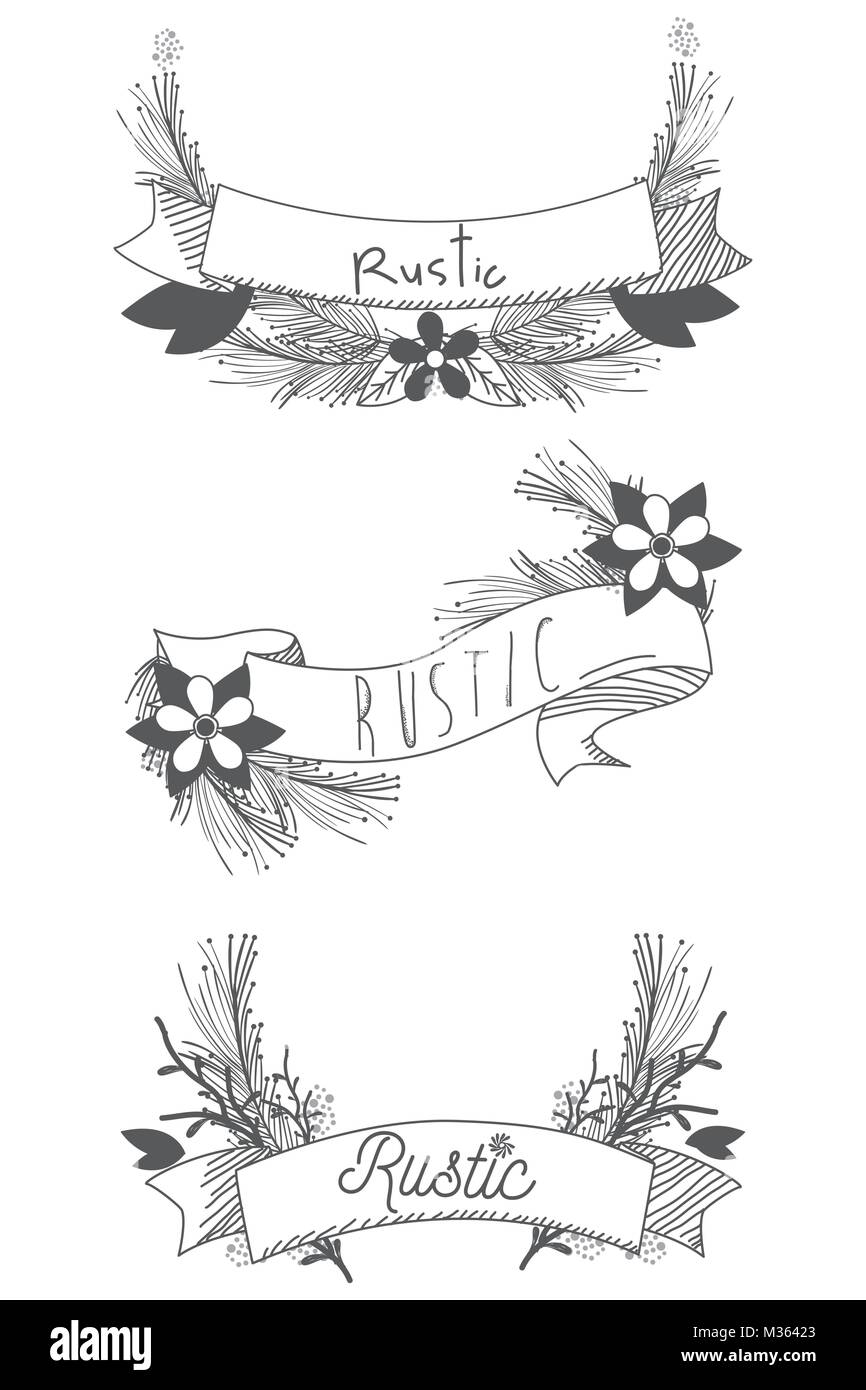 Rustic Ribbon Banner With Flowers Hand Drawn