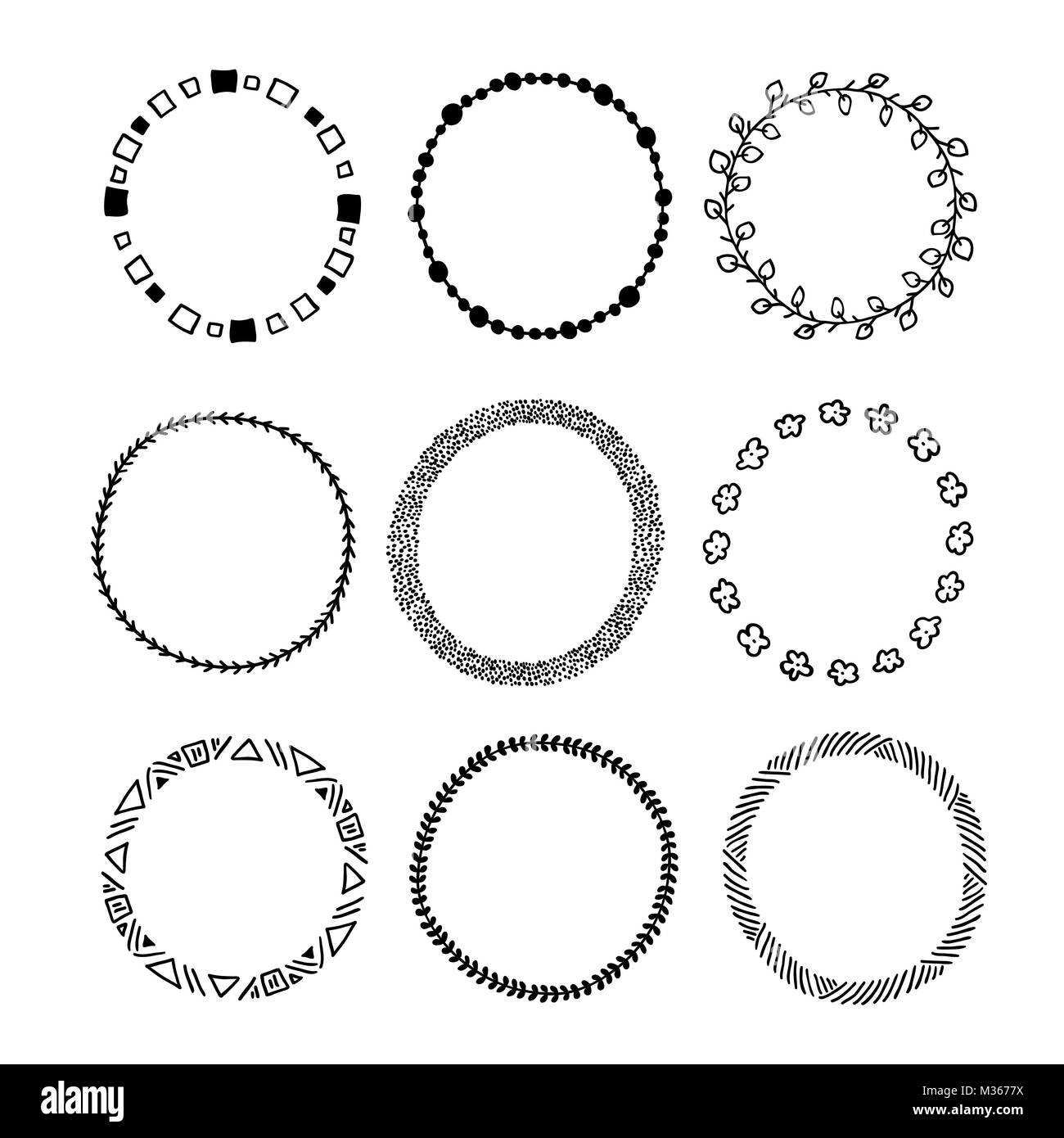 Simple hand drawn circle frames . Round doodle vector sketch tem ...