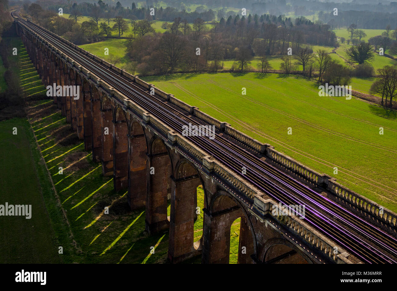 Ouse Valley Viaduct, Sussex, UK Aerial view - Stock Image