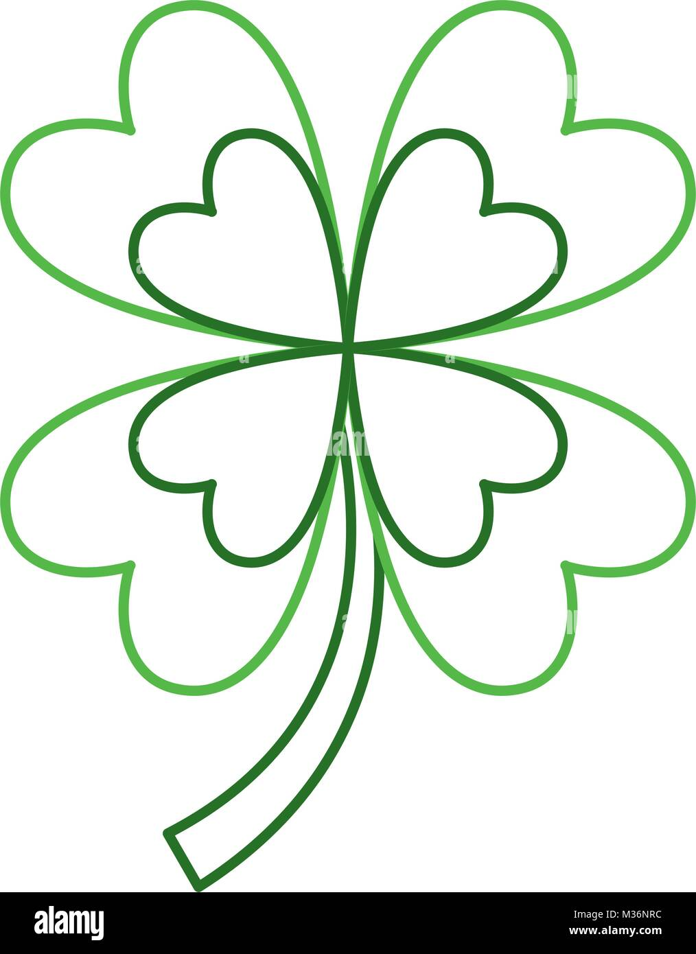 four leaves clover good fortune - Stock Image