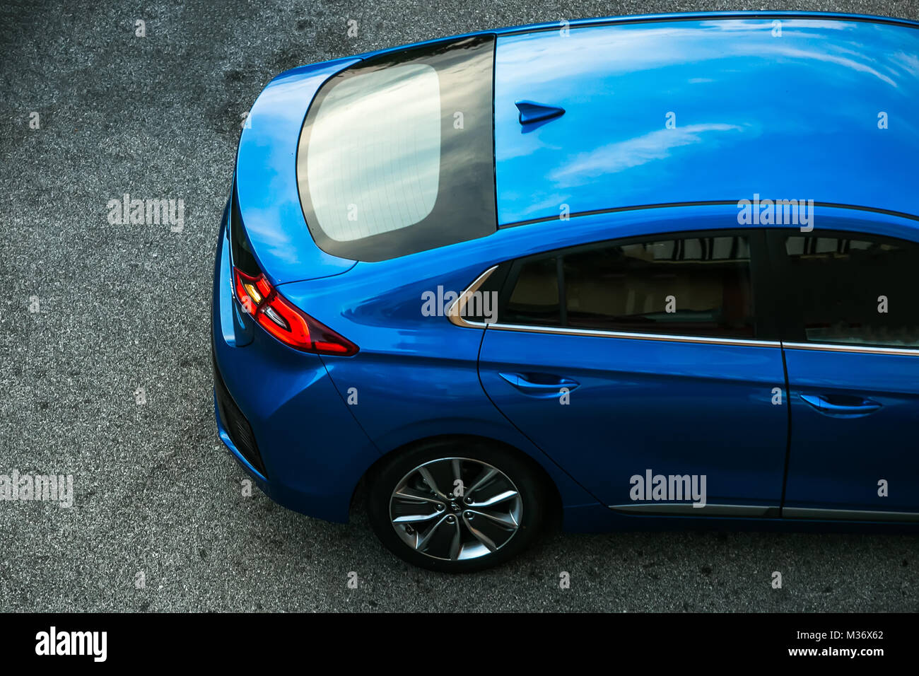Trieste, Italy - August 2, 2017: The Hyundai Ioniq is a Compact five-door hatchback manufactured and marketed by Stock Photo