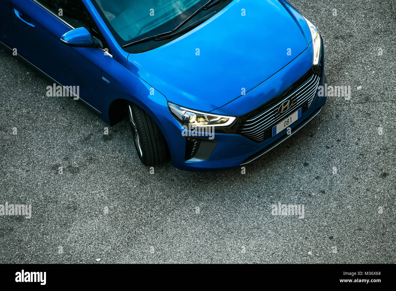 Trieste, Italy - August 2, 2017: The Hyundai Ioniq is a Compact five-door hatchback manufactured and marketed by - Stock Image