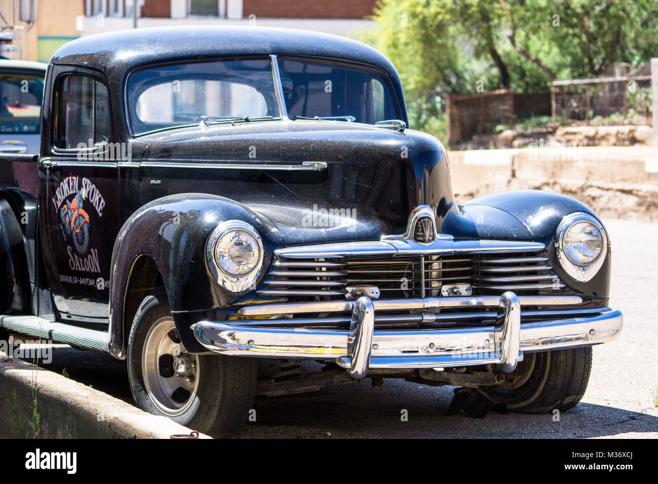 classic old American pick-up truck on an old small-town street in southeastern Arizona near Bisbee - Stock Image
