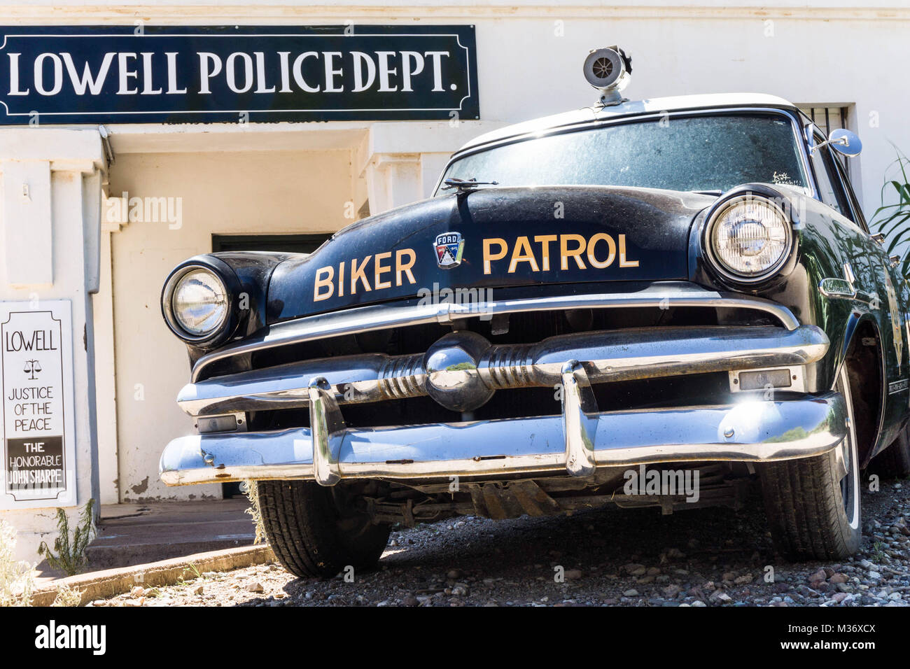 classic police patrol car and police station in southeastern