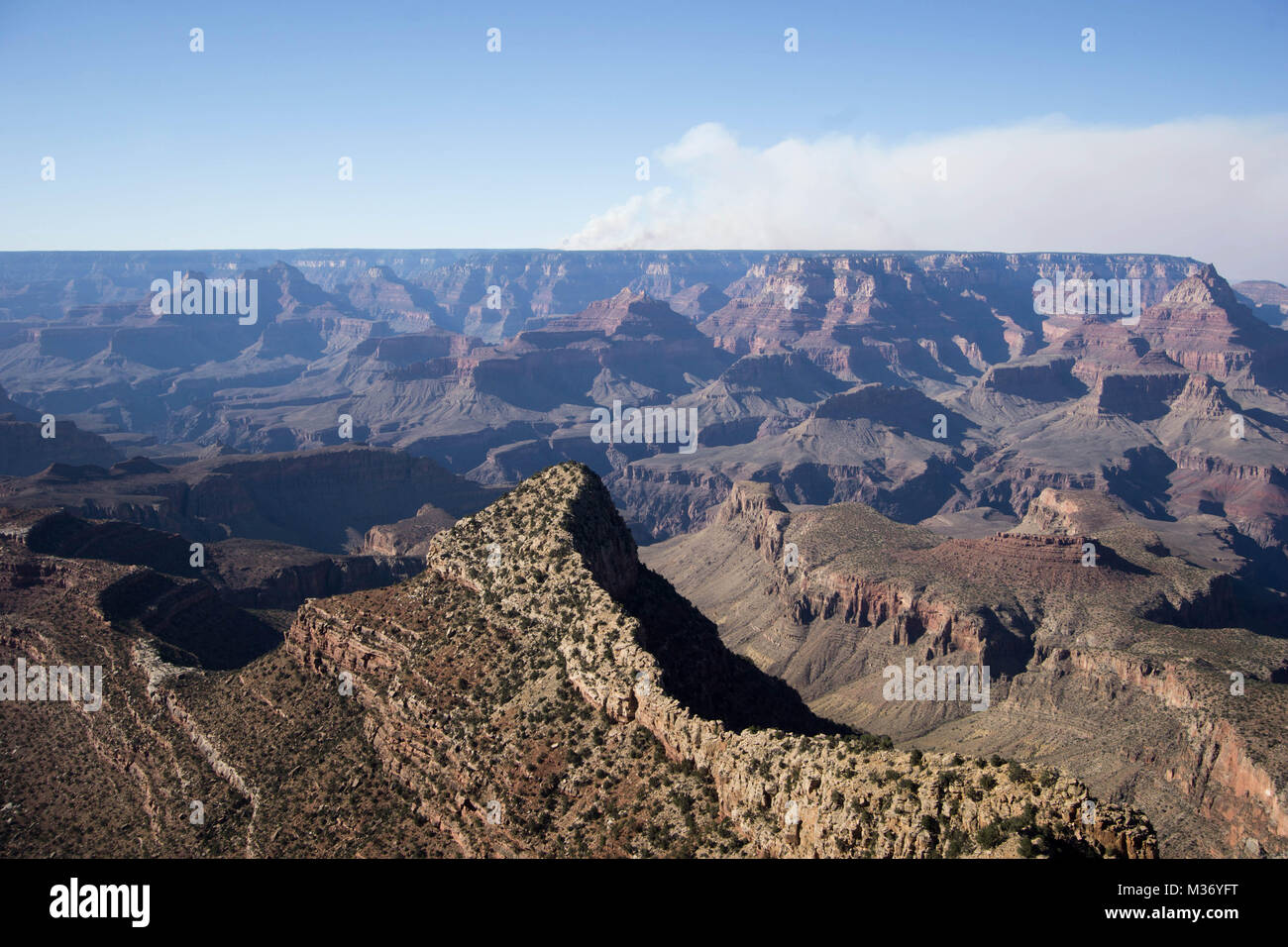 wildfire and smoke in the Grand Canyon in northern Arizona - Stock Image