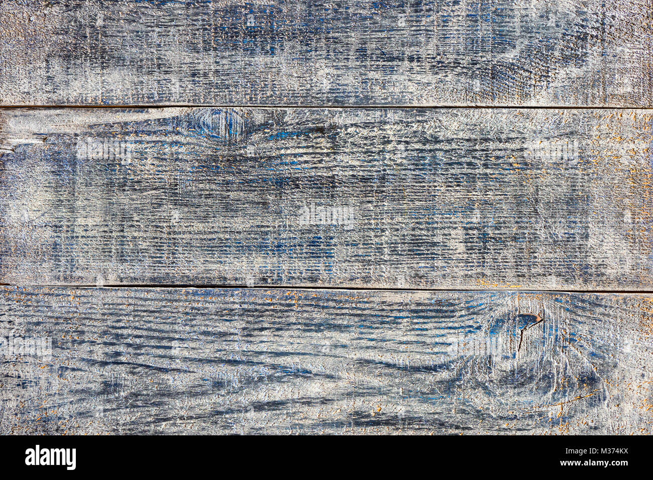 Gray blue denim effect paint Old wood planks painted shabby background texture - Stock Image