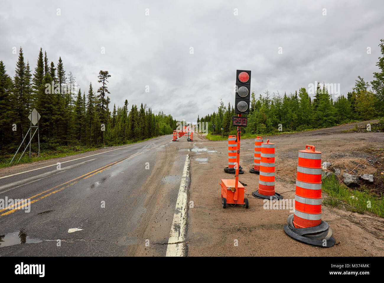 Road construction, Route 389, Quebec, Canada - Stock Image