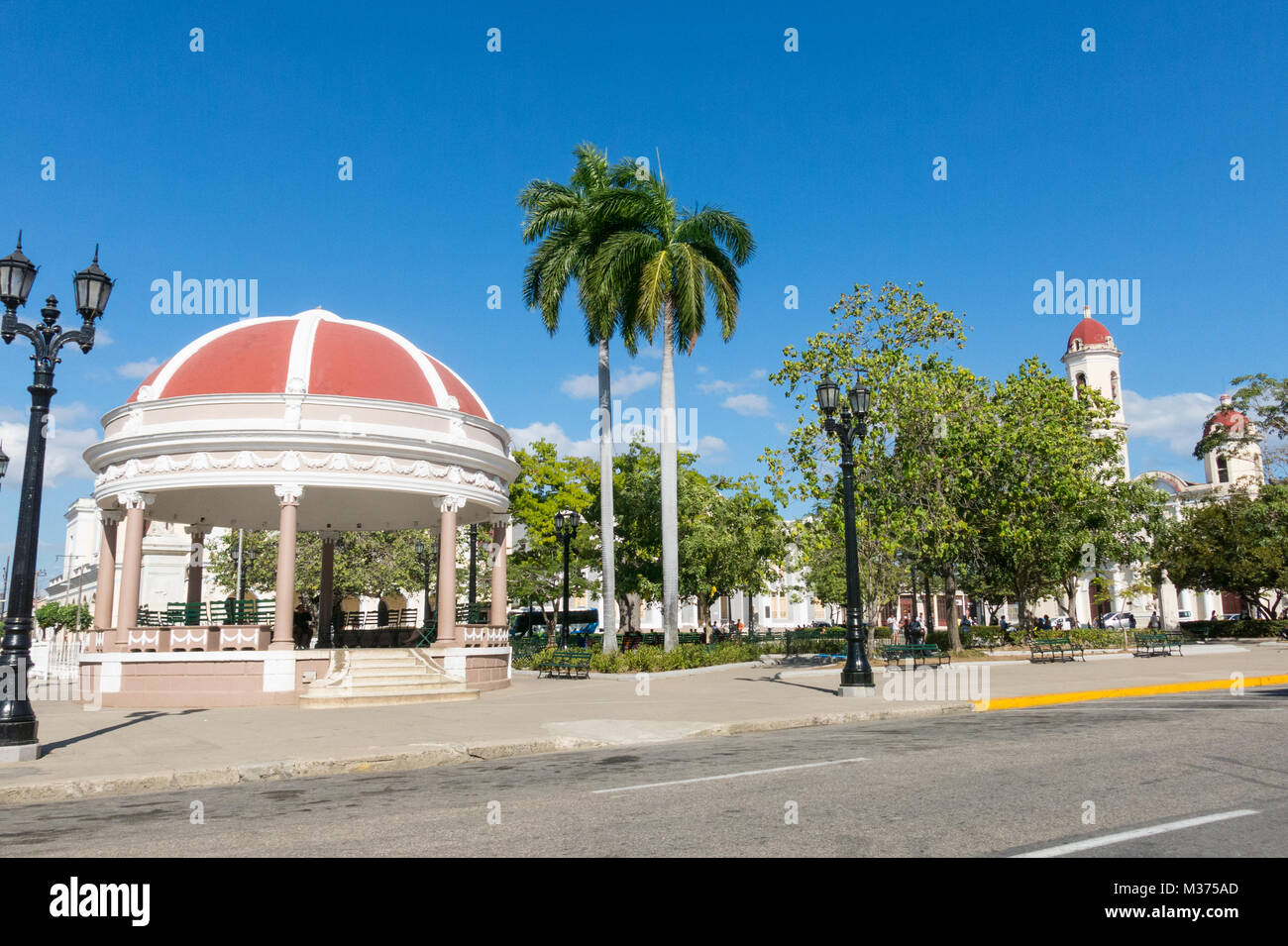 CIENFUEGOS, CUBA. Jose Marti Park, the main square of Cienfuegos, in front of the Purisima Concepcion Cathedral. - Stock Image