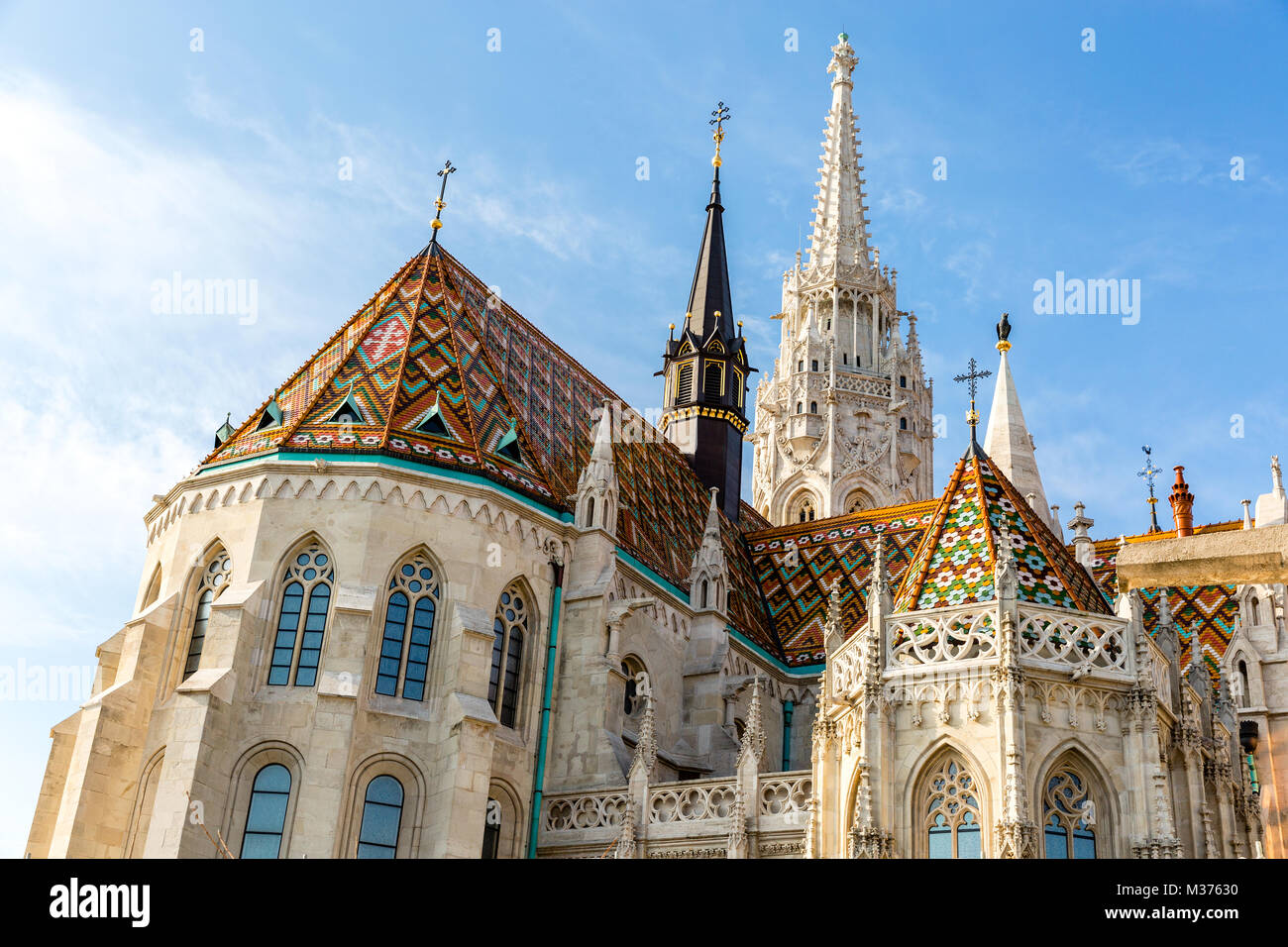 Matthias Church, Roman Catholic church located in Budapest Hungary in front of the Fishermans Bastion at the heart Stock Photo
