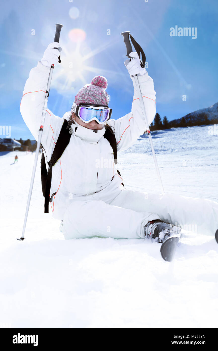 Skier in mountains and sunny day - Stock Image