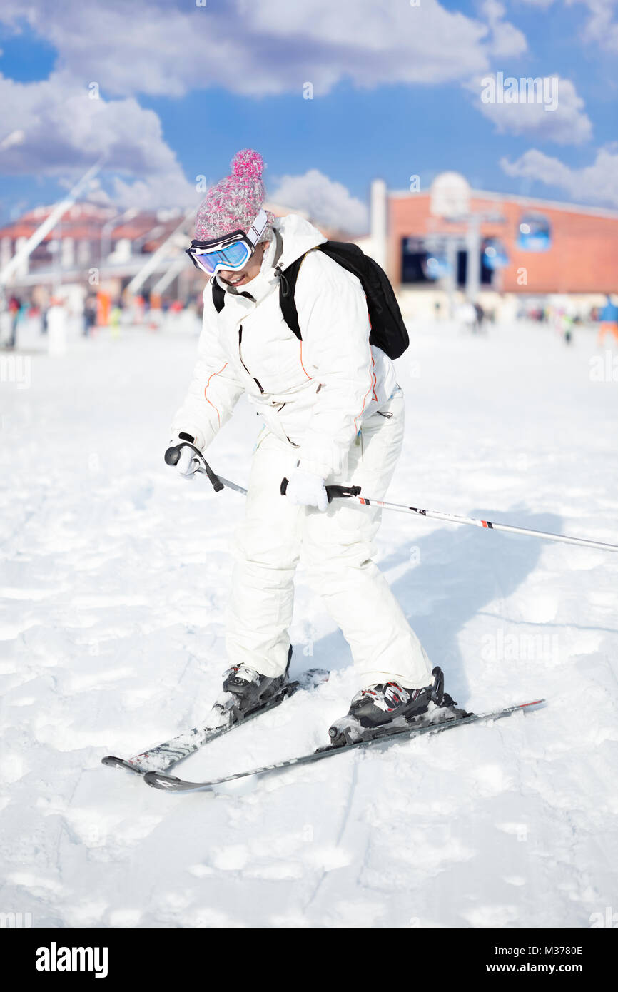 Young woman with ski stand - Stock Image