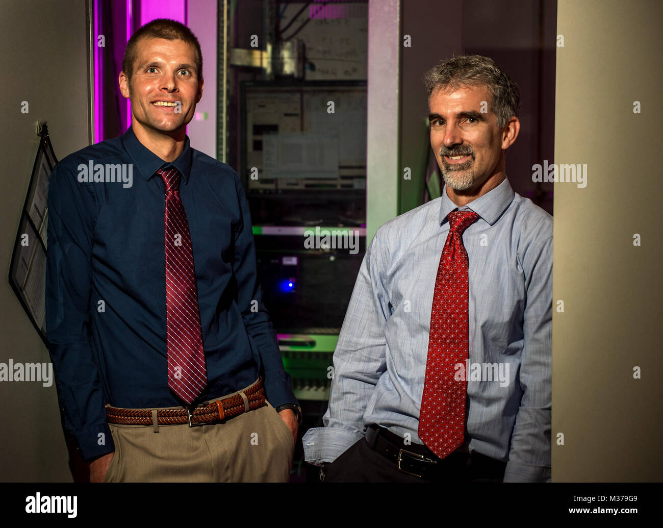 Ed Alyanak, an engineer, and Greg Reich, a research team lead with the Aerospace Systems Directorate at the Air - Stock Image