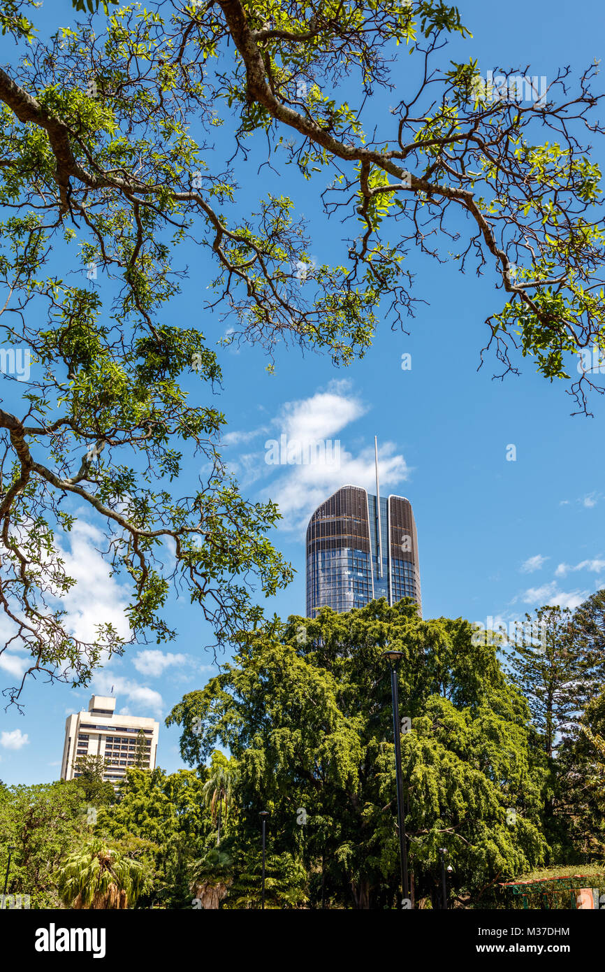 View from Brisbane Botanic Gardens. Queensland, Australia. Vertical image - Stock Image