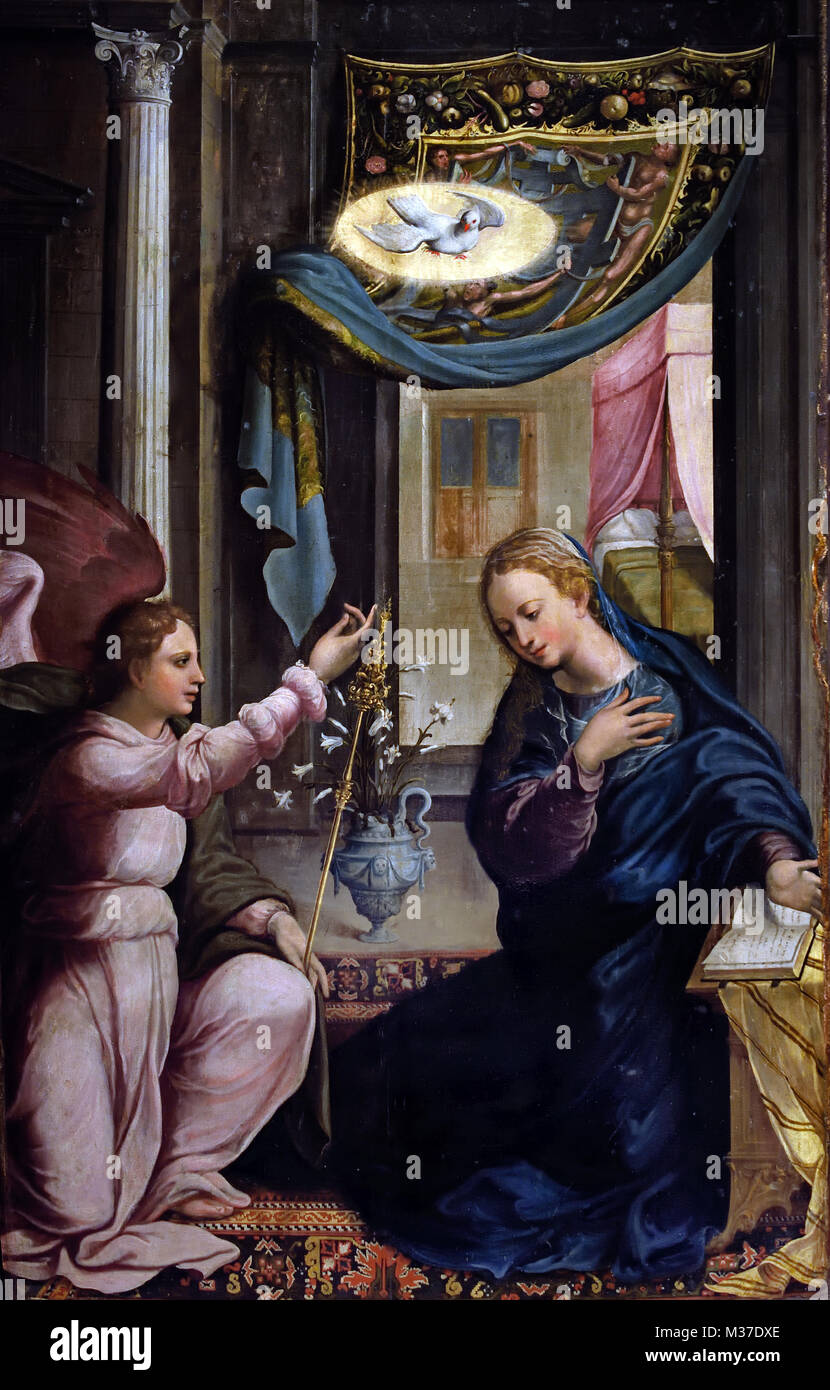 The Annunciation 1550-1560 Portuguese - Workshop 16th-century Portugal, - Stock Image