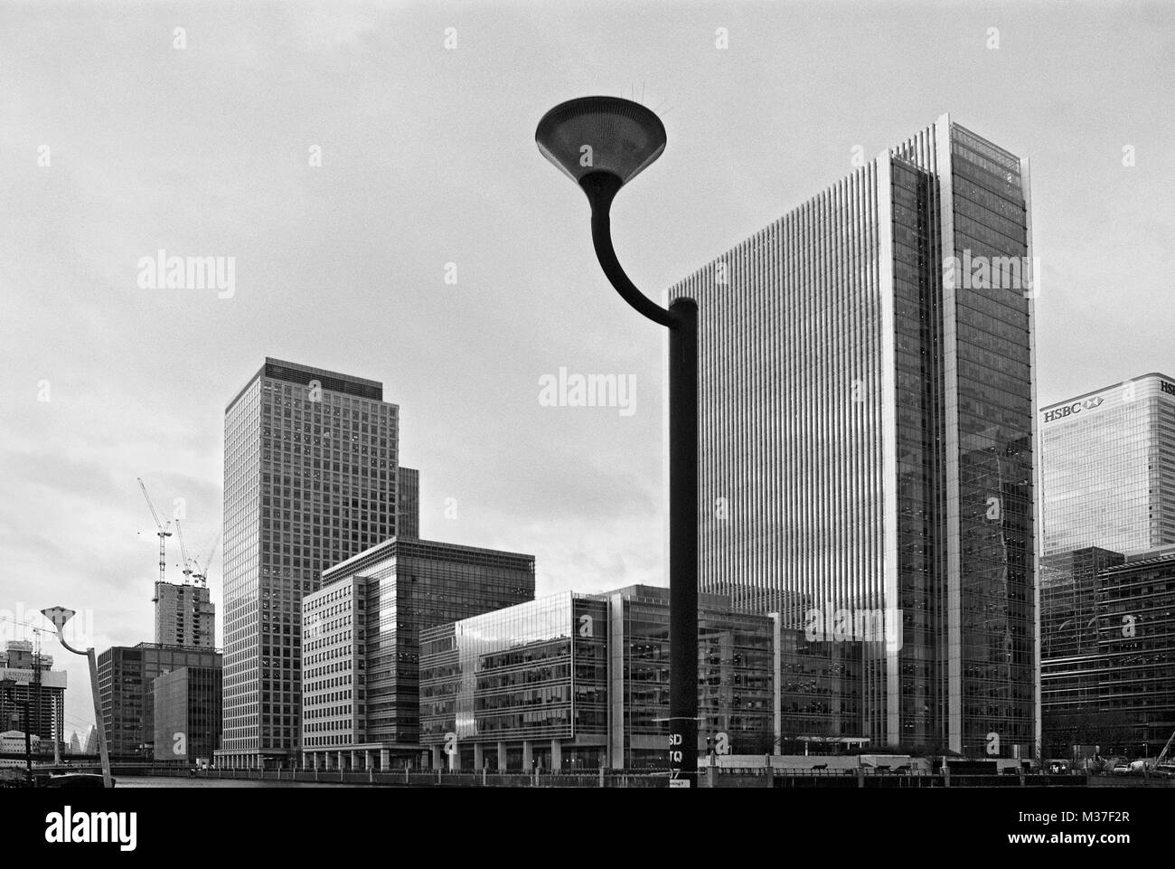 Office buildings on South Dock, Canary Wharf business district, East London UK - Stock Image