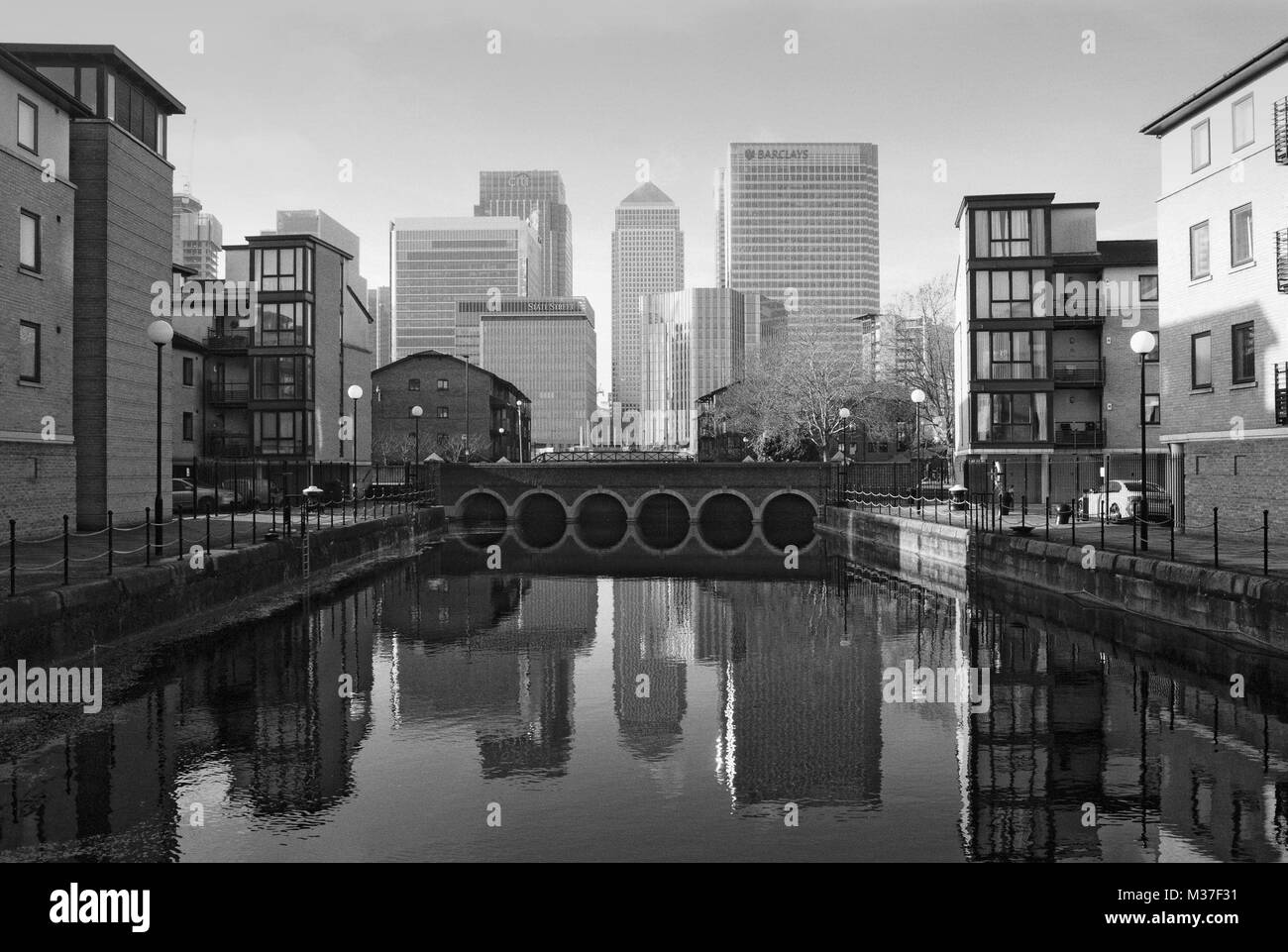 Canary Wharf, Isle of Dogs, East London UK, looking west from the River Thames - Stock Image